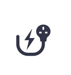 uk electric plug electricity symbol on white vector image