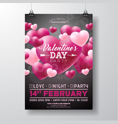 Valentines day party flyer design with love vector