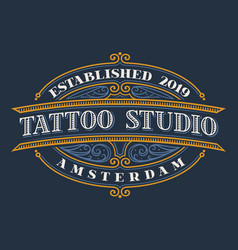 Vintage lettering for tattoo studio vector