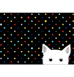 White Cat Colorful Dots Star Background vector image