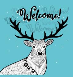 Winter print with funny deer vector