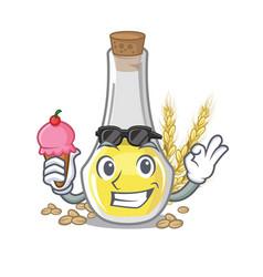 With ice cream wheat germ oil mascot shape vector