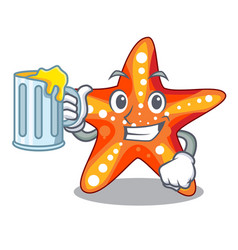With juice starfish isolated with in the cartoons vector