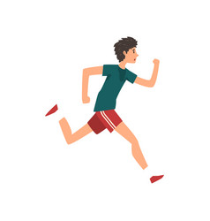 young sportive man running active healthy vector image