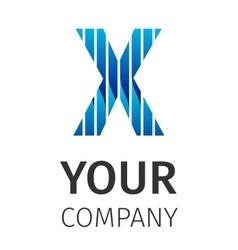 Abstract blue logo X vector image vector image