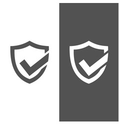 Active protection shield icon on black and white vector