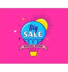 Big sale - colorful banner hot air balloon vector
