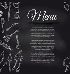 chalkboard menu poster with kitchen utensils vector image
