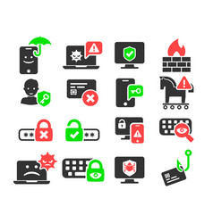 cyber security and threat icons set vector image vector image