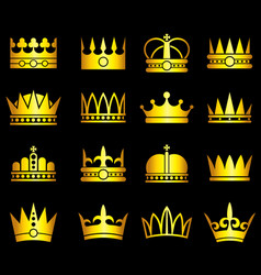 gold crown aristocracy symbols set vector image