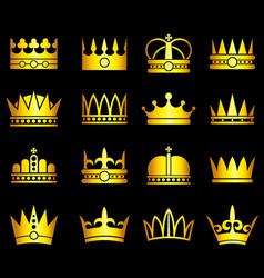 gold crown aristocracy symbols set vector image vector image