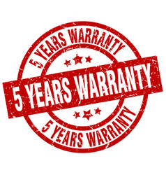 5 years warranty round red grunge stamp vector image vector image