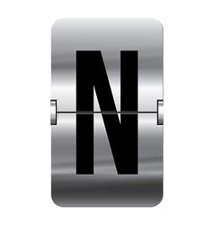 Alphabet silver flipboard letters n vector image vector image