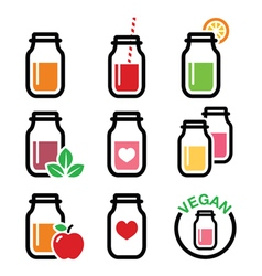 Healthy smoothie drink juice in jar icons set vector image vector image