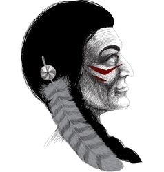 Portrait of an Indian warrior vector image