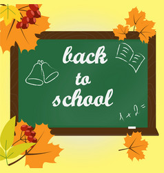 text on green chalkboard back to school vector image