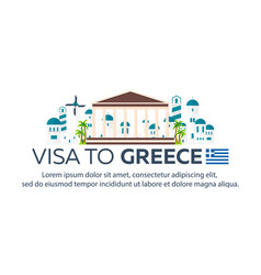 Visa to greece document for travel flat vector