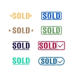 A set of stamps sold vector image vector image