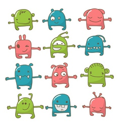 cute monster set vector image vector image