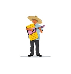 Mexican musician with guitar sign vector image