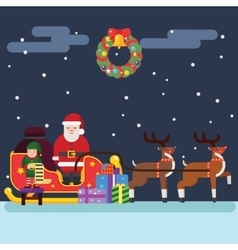 Santa Clause Christmas Elf Reindeer vector image