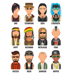 set icon different subcultures people hipster vector image vector image
