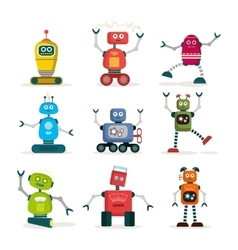 Set of colorful robots flat icons vector image vector image