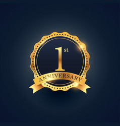 1st anniversary celebration badge label in golden vector image