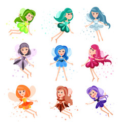 cute cartoon flying colorful girly fairies set of vector image vector image