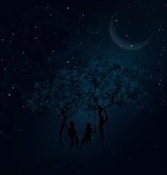 Romantic meeting at night vector image