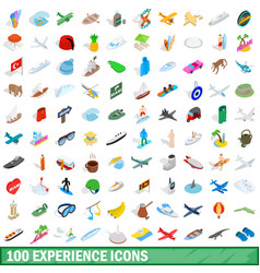 100 experience icons set isometric 3d style vector image