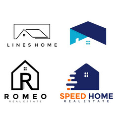 4 set logo home business vector image