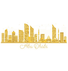 Abu dhabi city skyline golden silhouette vector