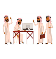 Arab man office worker thawb thobe vector