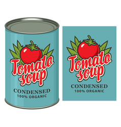 banner with a tin can and a label for tomato soup vector image