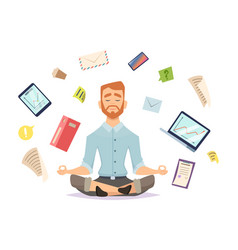 Business yoga concept office zen relax vector