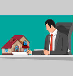 Businessman holding house building vector