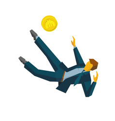 businessman kicking coins like football player vector image