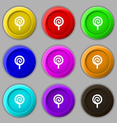 Candy icon sign symbol on nine round colourful vector