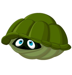 Cartoon turtle hides in its shell vector