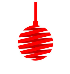 christmas ball made of red ribbon isolated on vector image