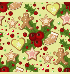 Christmas seamless pattern with spruce branches vector