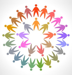 Circle of colorful people pictogram vector