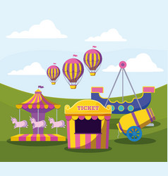 circus tent ticket with set icons vector image