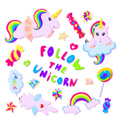 colorful rainbow unicorns and sweets vector image