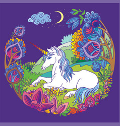 colorful tangled unicorn and flowers purple vector image