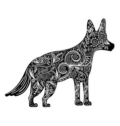 Contour dog animal to chinese zodiac and vector