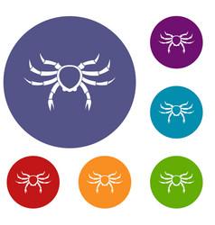 Crab sea animal icons set vector