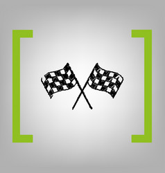 crossed checkered flags logo waving in the wind vector image