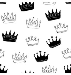 crown seamless pattern hand drawn royal doodles vector image